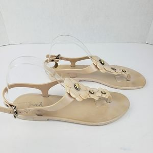 Coach sz 9 jelly thong floral sandals